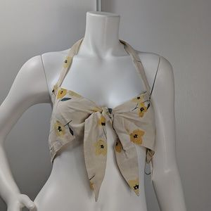 Billabong halter top floral tie neck size M B4